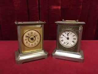 2 Antique Jumghans Musical Alarm Carriage Clocks