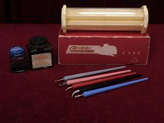 Gestetner Case  5 Art Pens   Ink