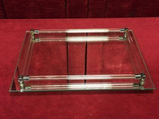 Glass Rod   Mirror Tray   12  x 9