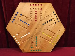 2 Sided Wood Marble Game Board   20 5  x 20 5