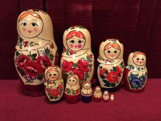 large 10pc Russian Nesting Dolls Set   USSR
