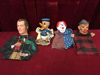 4 Vintage Hand Puppets   Note