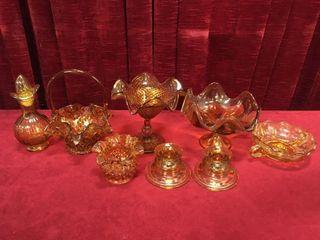 Vintage Amber Glass Basket  Dishes   More