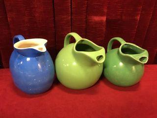 3 Vintage Pottery Water Pitchers