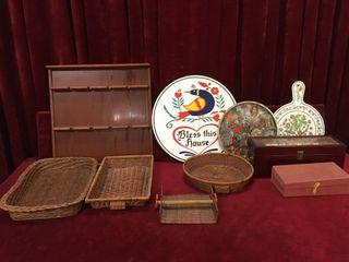 Wood Rack  Wicker Trays   Trinket Box