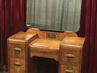 Vintage Wood Make Up Vanity   40  x 17  x 62 5