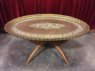 Moroccan Bohemian Brass Table   Foldable   Note