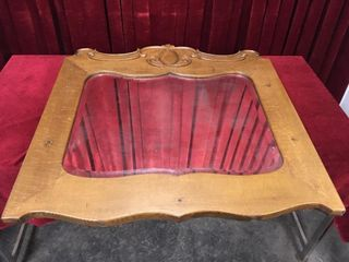 Antique Wood Frame Mirror   Note Hazing