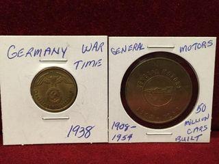 1908 54 GM Token   1938 German 10 Token