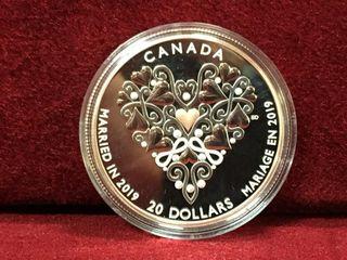 2019 Canada  20 Silver Wedding Coin   Note