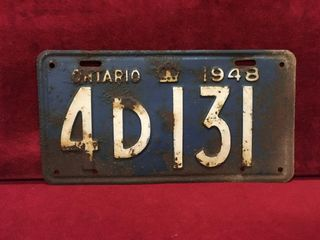 1948 Ontario license Plate