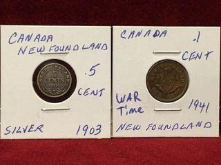 1903 5   1941 1 Newfoundland Coins