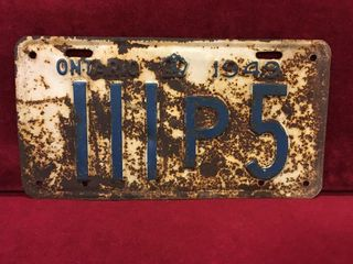 1949 Ontario license Plate