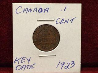 1923 Key Date Canada 1 Coin