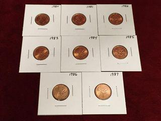 1980 thru 1987 Canada 1 Coins
