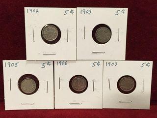 1902 thru 1907 Canada Silver 5 Coins
