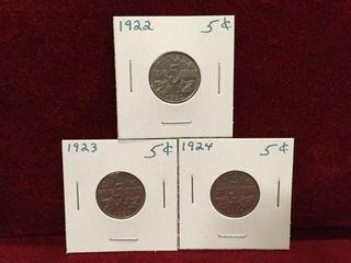 1922  23   24 Canada 5 Coins