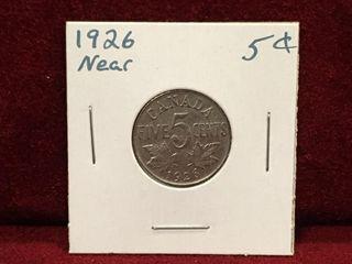 1926 Near 6 Canada 5 Coin