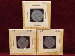 1927  28   29 Canada 5 Coins