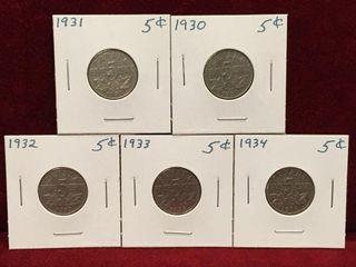 1930 thru 1934 Canada 5 Coins