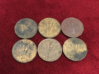 6 1943 Canada 5 Tombac Coins