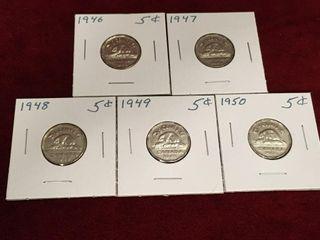 1946 thru 1950 Canada 5 Coins