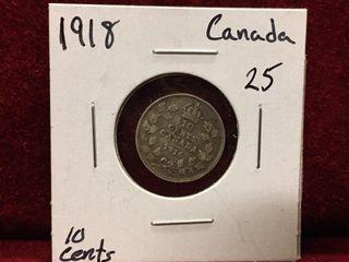 1918 Canada Silver 10 Coin