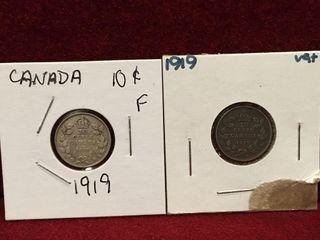 2 1919 Canada Silver 10 Coins