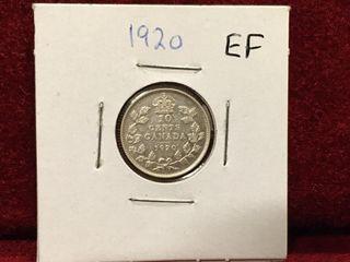 1920 Canada Extra Fine Silver 10 Coin