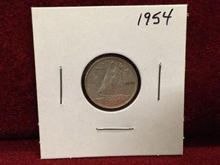 1954 Canada Silver 10 Coin