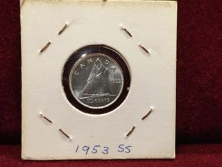1953 Canada Silver Shoulder Strap 10 Coin