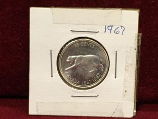 1967 Canada Silver 25 Coin