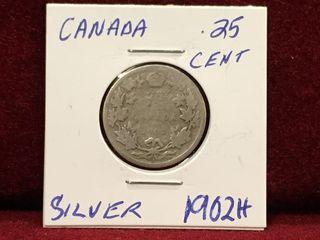 1902 H Canada Silver 25 Coin