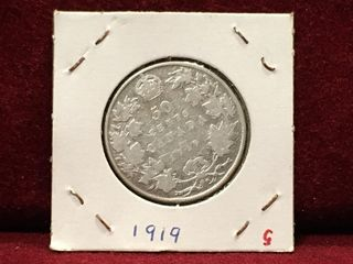 1919 Canada Silver 50 Coin