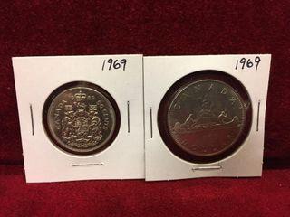 1969 Canada 50    1 Coins