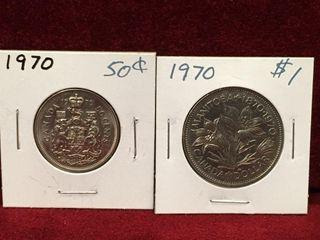 1970 Canada 50    1 Coins