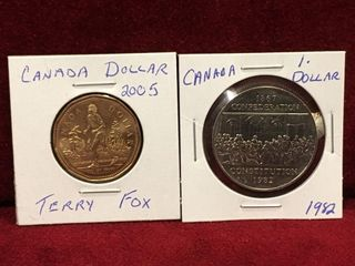 2005 Terry Fox   1982 Constitution Canada  1 Coins