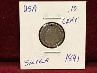 1841 US Silver 10 Coin