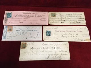 5 1800s USA Cheques w  Revenue Stamps
