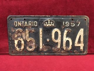 1957 Ontario license Plate