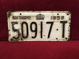 1958 Ontario license Plate