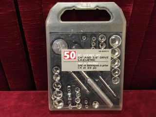 50pc 1 4    3 8  Drive Socket Set SAE   Metric