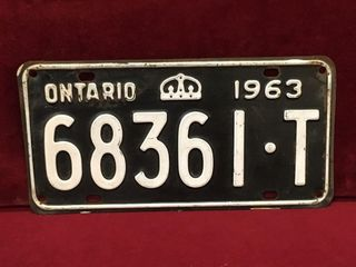 1963 Ontario license Plate