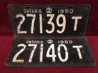 1950 Consecutive Ontario license Plates