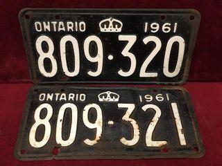 1960 Consecutive Ontario license Plates