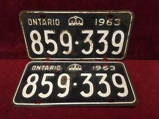 1963 Ontario license Plate Set