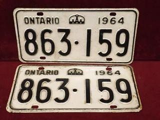 1964 Ontario license Plate Set