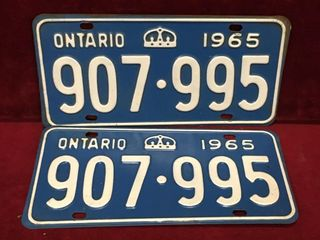 1965 Ontario license Plate Set