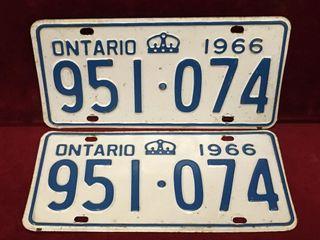 1966 Ontario license Plate Set