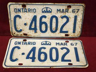 1967 Ontario license Plate Set